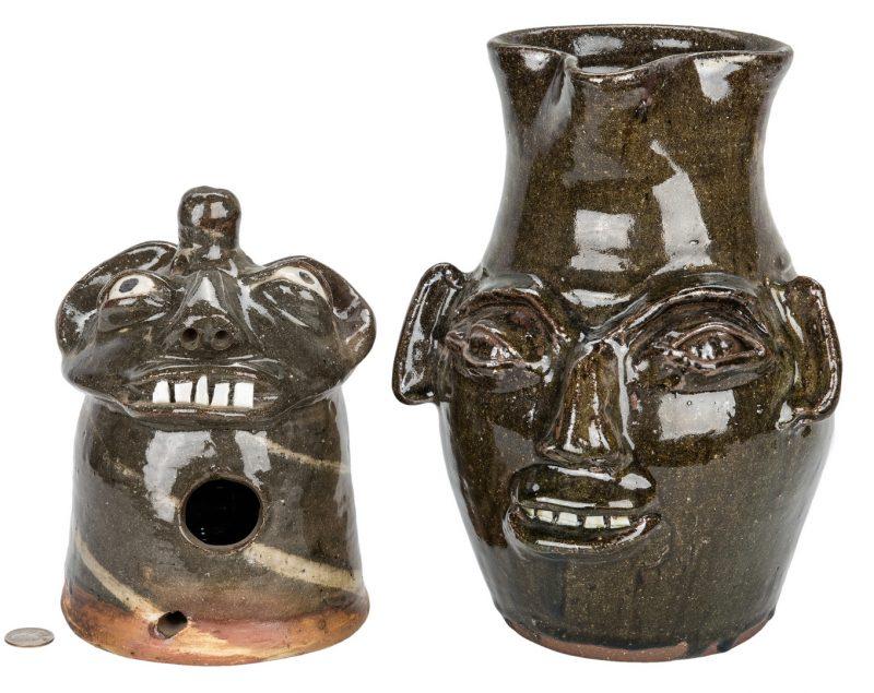 Lot 396: 2 NC Burlon Craig Pottery Items, Pitcher & Birdhouse