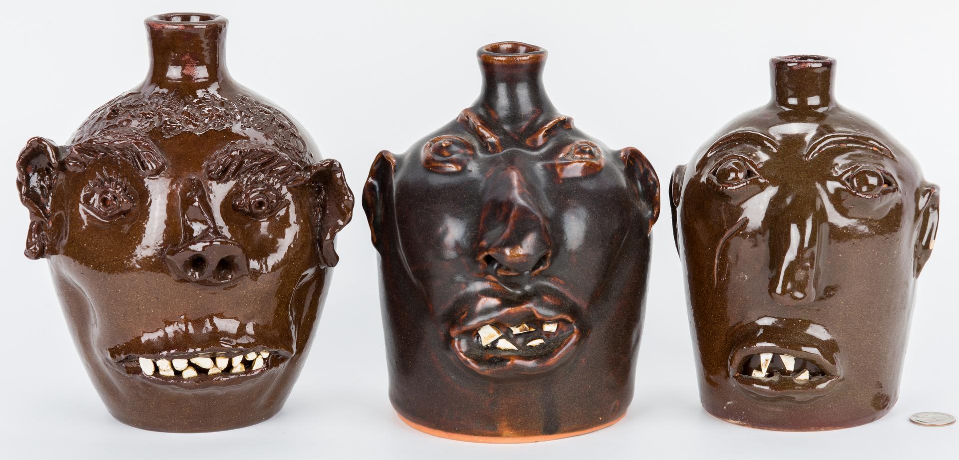 Lot 399: 3 NC Folk Pottery Face Jugs, Brown & Cole
