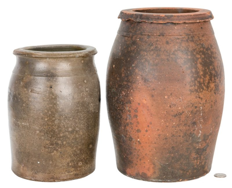 Lot 404: 2 East TN Pottery Jars, Weaver Brothers