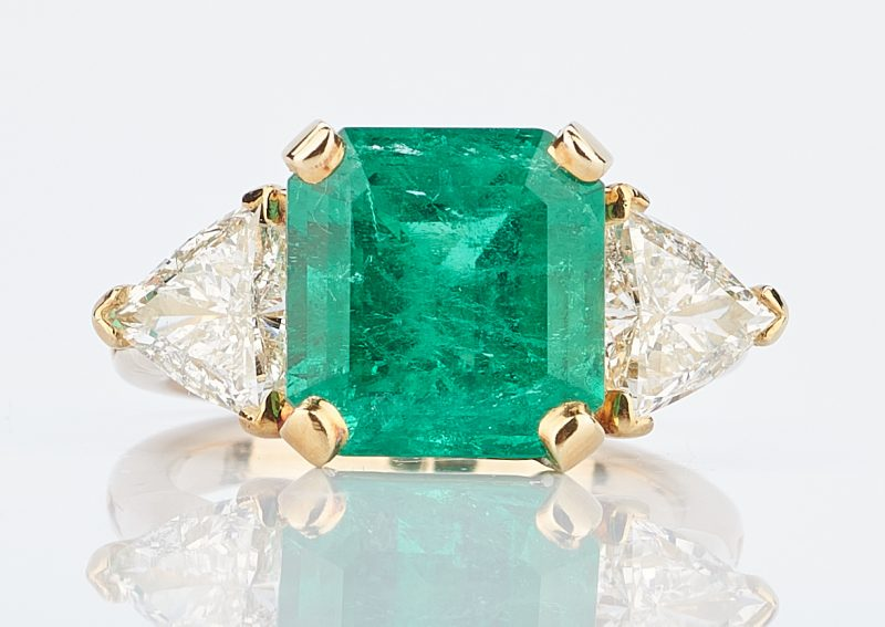Lot 408: Ladies 18K YG, Emerald & Diamond Ring