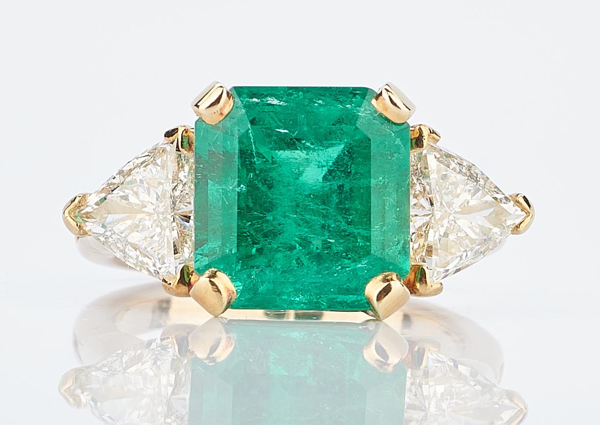 Lot 408: Ladies 18K YG, Emerald & Diamond Ring