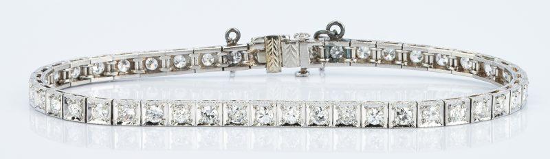 Lot 409: Ladies Platinum & Diamond Line Bracelet