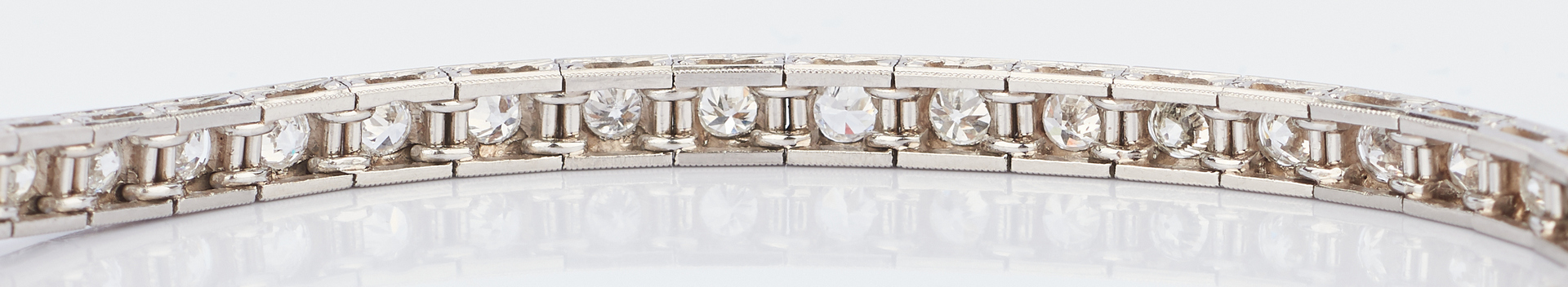 Lot 409: Ladies Platinum & Diamond Line Bracelet
