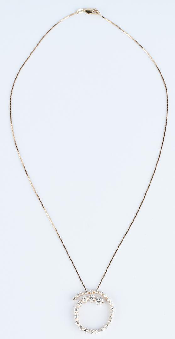 Lot 411: 14K Diamond Pendant Necklace