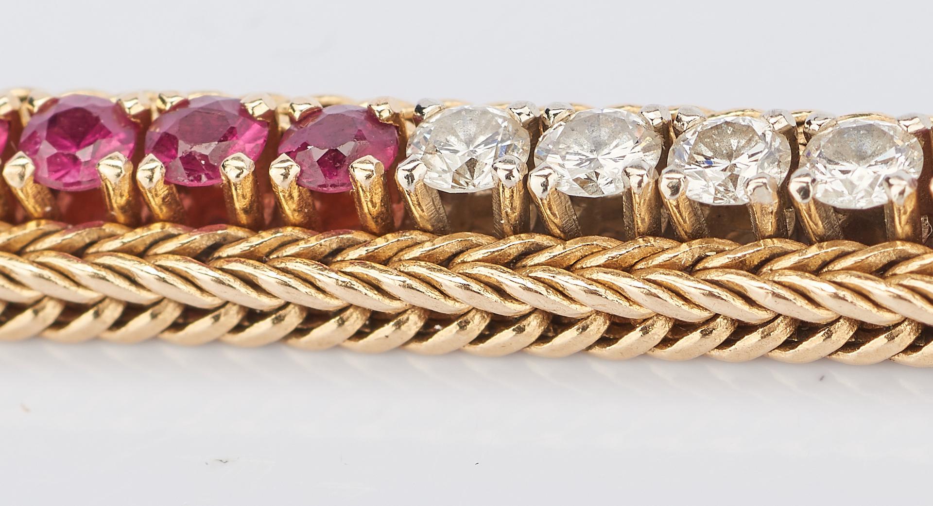 Lot 412: 14K Ruby & Diamond Line Bracelet