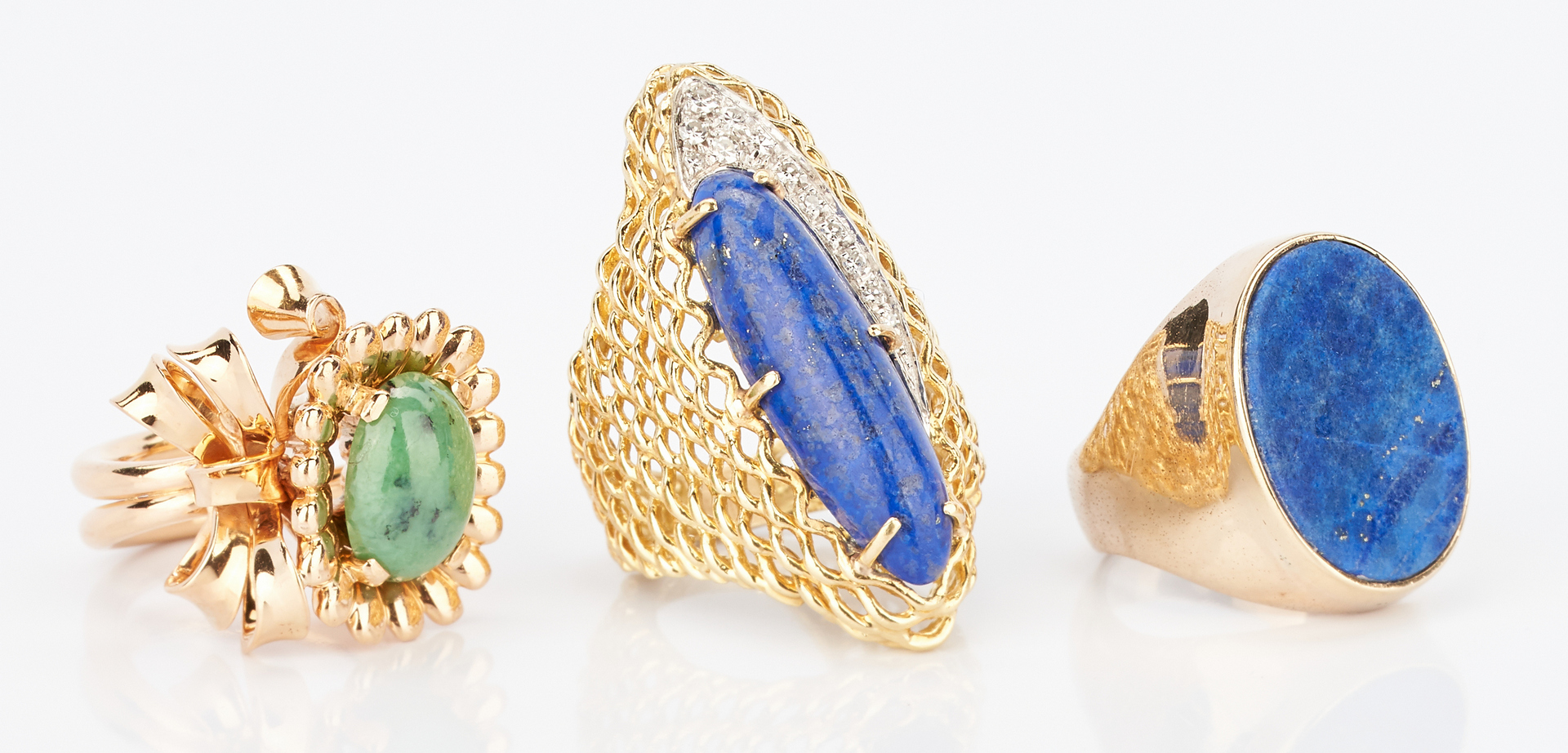 Lot 414: 3 Ladies Gold, Turquoise, & Lapis Lazuli Rings