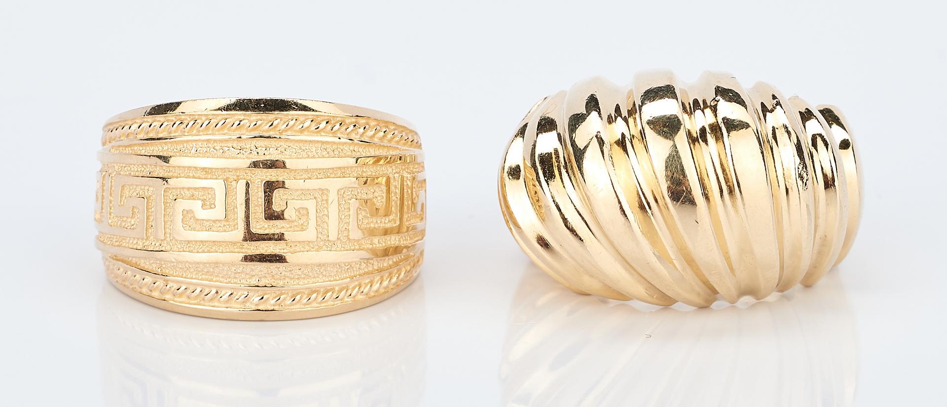 Lot 415: 2 14K Yellow Gold Rings & 1 14K Yellow Gold Bracelet
