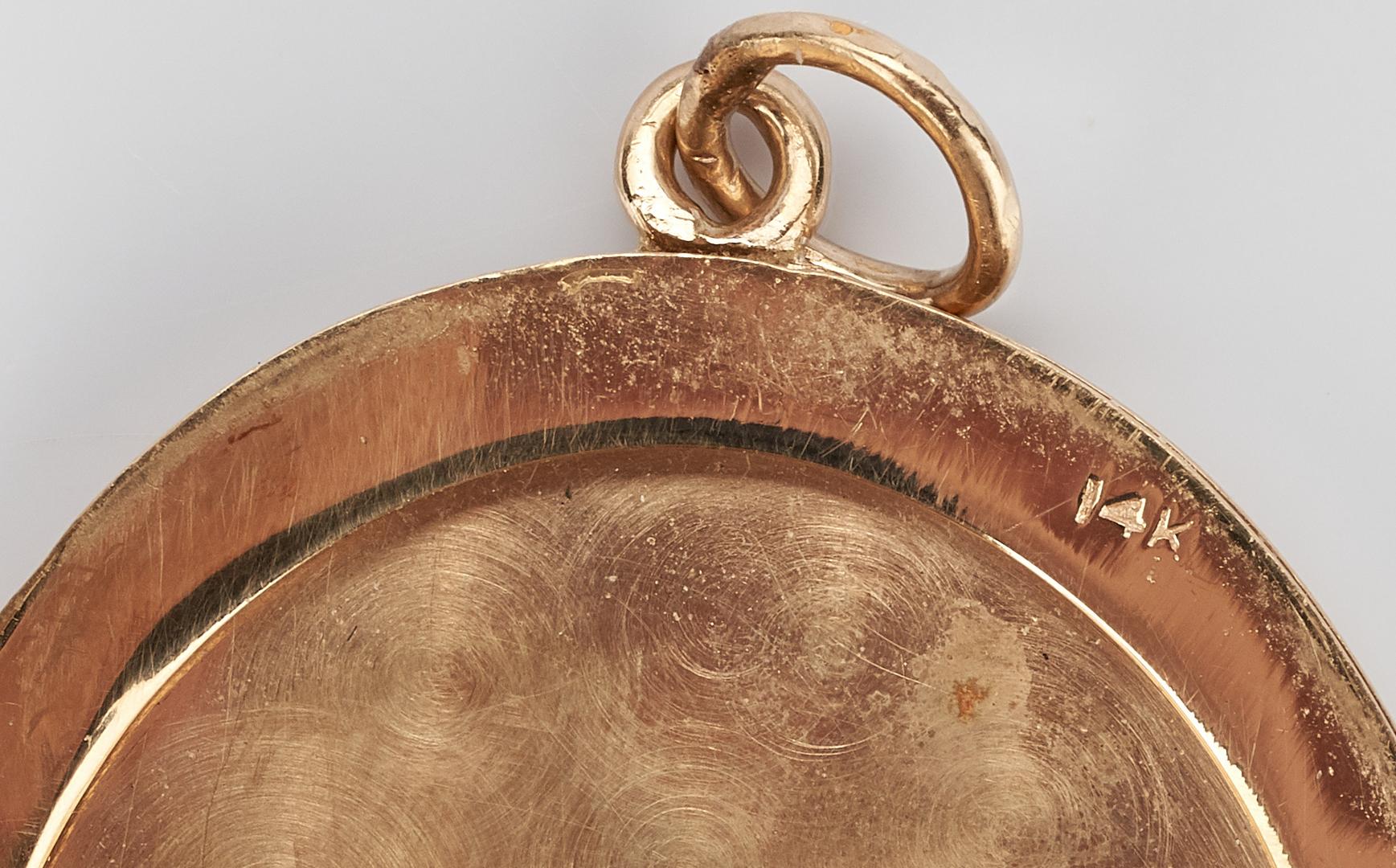 Lot 417: 3 14K Jewelry Items, Money Clip, Pendant, & Watch