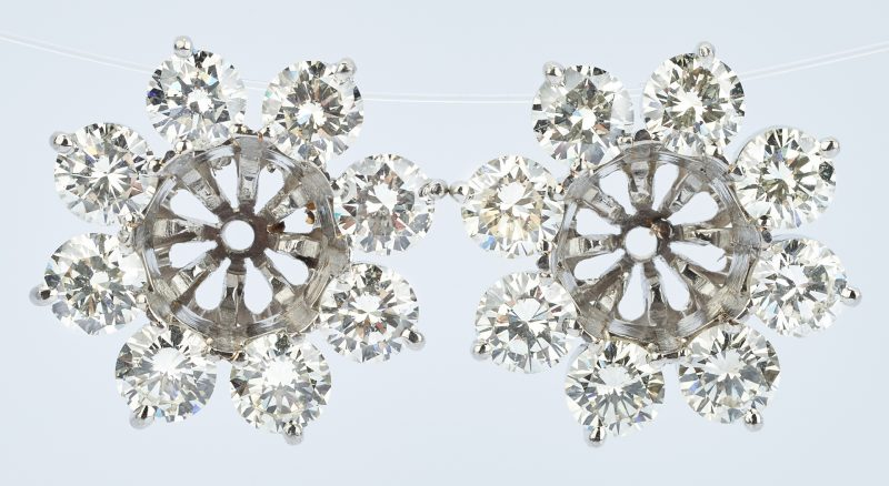 Lot 419: Platinum Pair of Diamond Earring Jackets