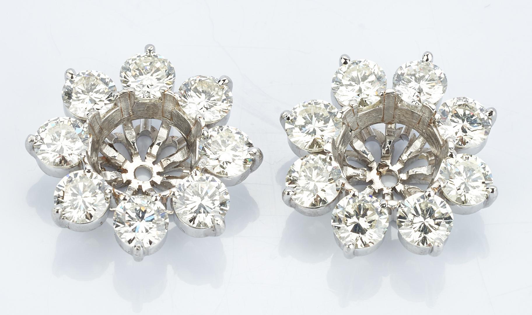 Lot 419: Platinum Pair of Diamond Earring Jackets