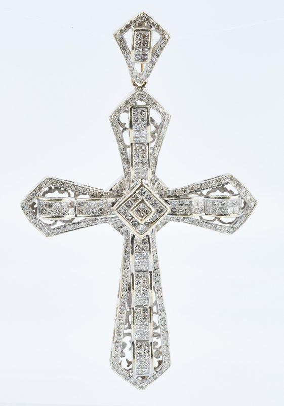 Lot 41: 14K Gold & Diamond Cross Pendant w/ 10K Gold Chain