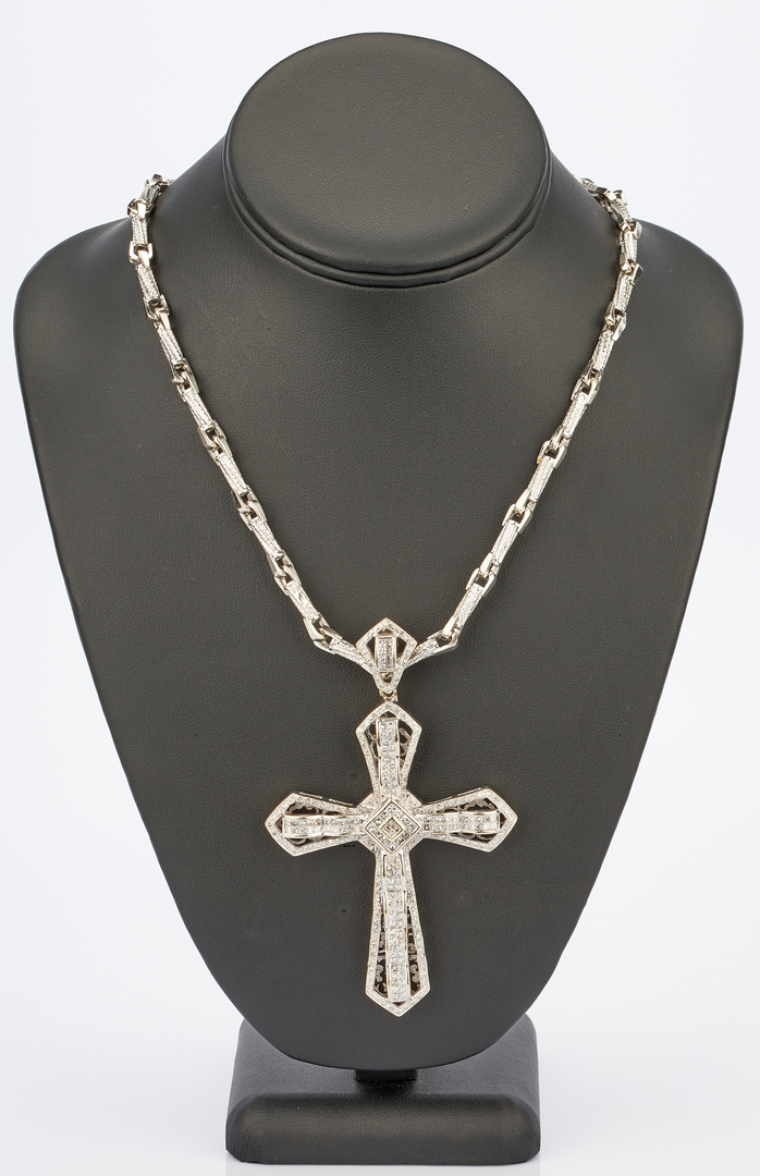 Lot 41: 14K Gold & Diamond Cross Pendant w/ 10K Gold Chain
