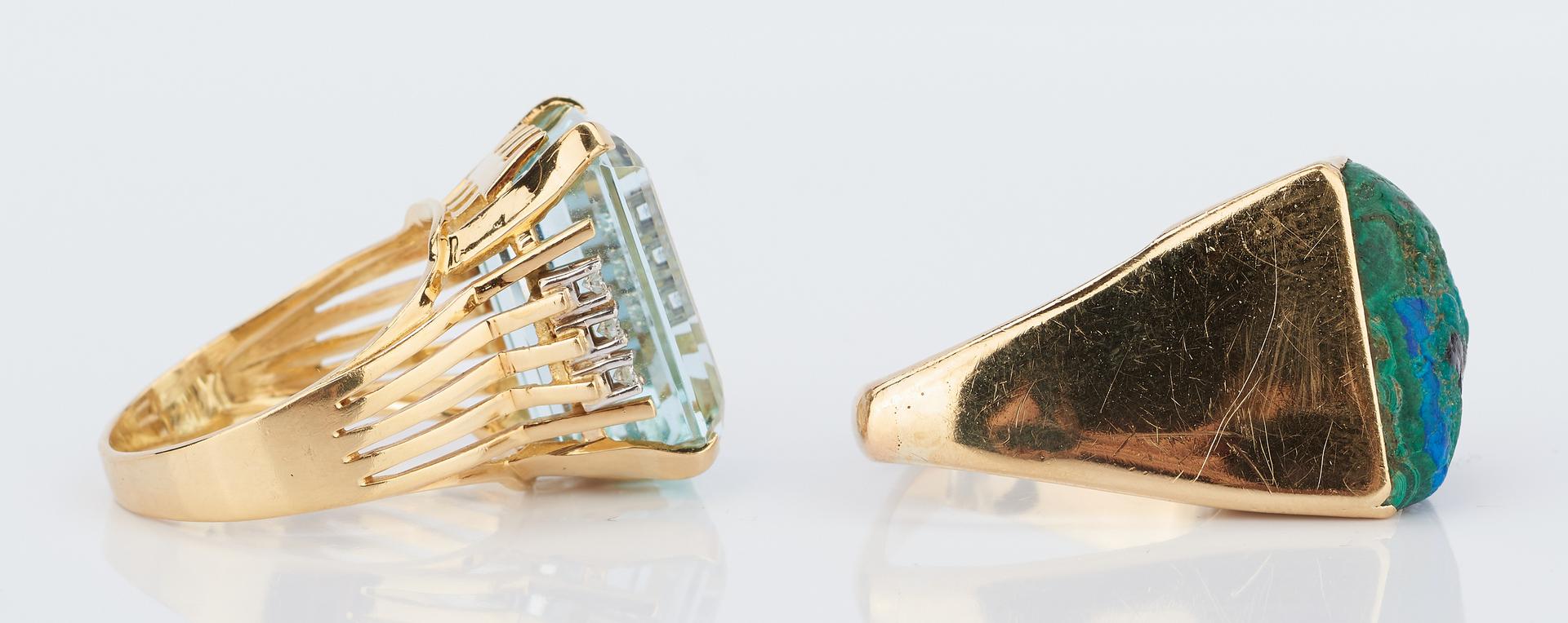Lot 420: 2 Ladies 18K and Gemstone Rings