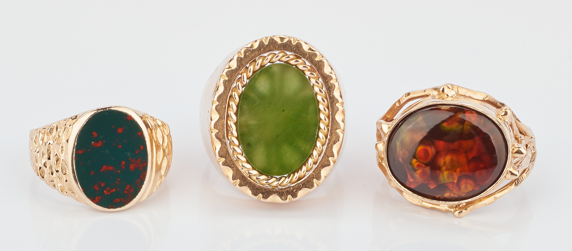 Lot 421: 3 Men's 14K Gold Rings w/ Stones