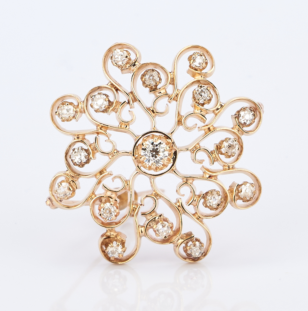 Lot 423:  2 14K Gold and Diamond Brooches
