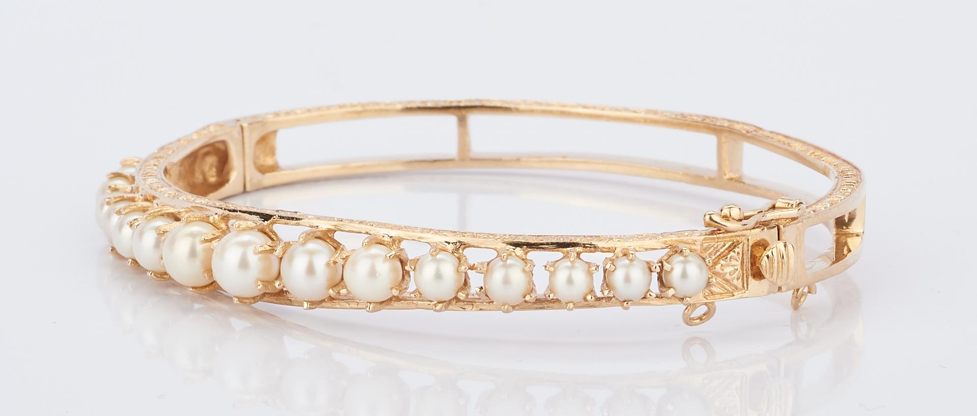 Lot 424: 2 Ladies 14K & Gemstone Bracelets