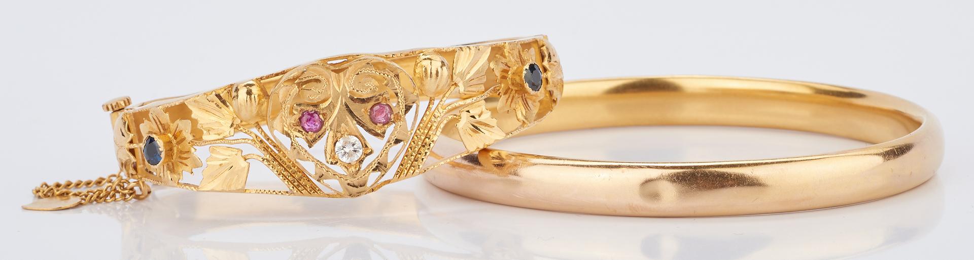 Lot 425: 2 Ladies Gold Bracelets, 1 w/ Gemstones