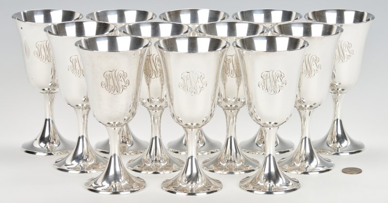 Lot 427: Set of 12 Gorham Sterling Water Goblets