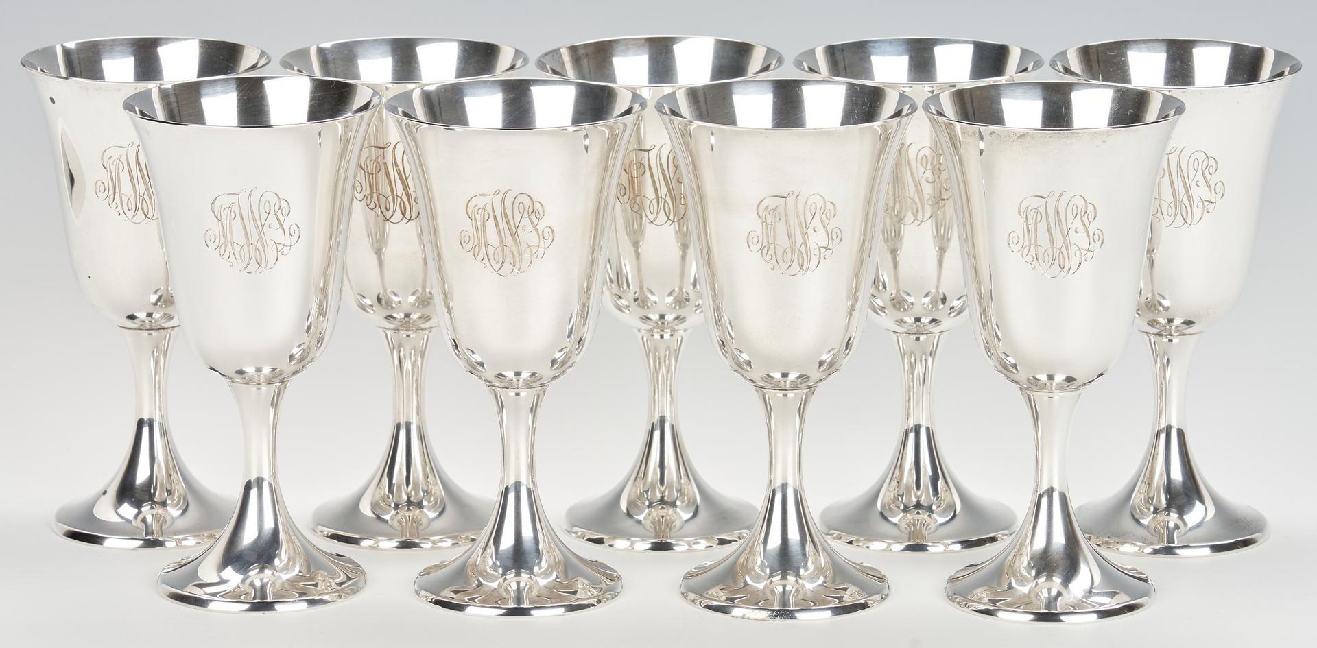 Lot 427: Set of 12 Gorham Sterling Water Goblets