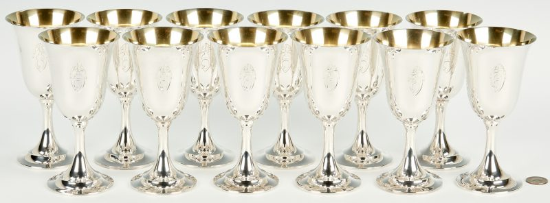 Lot 431: 12 International Lord Saybrook Sterling Goblets