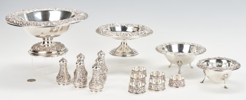 Lot 435: Kirk Repousse Compotes and Salt Holders, 16 pcs
