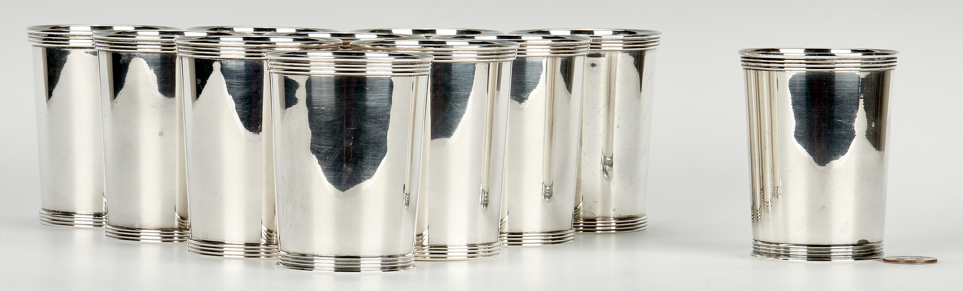 Lot 438: 11 Sterling Silver Julep Cups, incl. International, Manchester