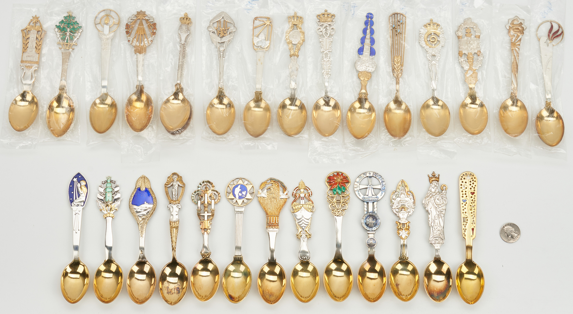 Lot 440: 29 A. Michelsen Gilded Sterling Silver Spoons, 1910-1938