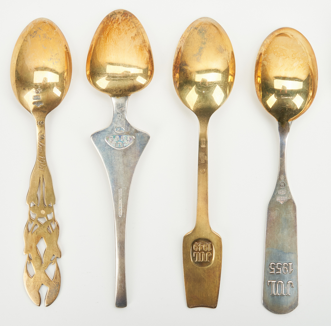 Lot 441: 25 A. Michelsen Gilded Sterling Silver Spoons, 1940-1972