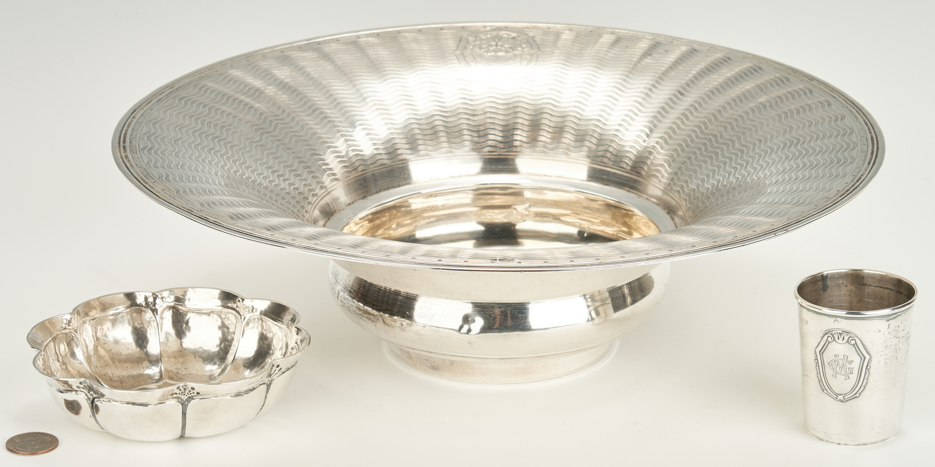 Lot 444: 3 items .800 silver incl. Turkish Silver Centerpiece Bowl