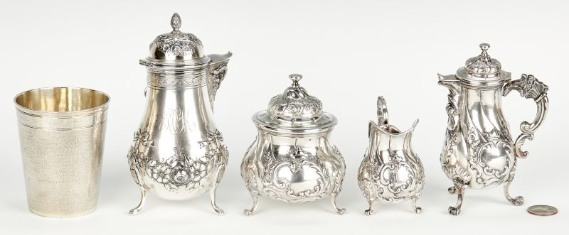 Lot 445: Continental Silver Demitasse Set and Beaker, 5 pcs.