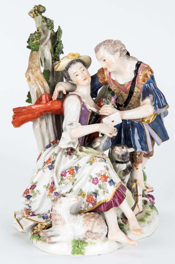 Lot 451: 2 Courting Couple Porcelain Figurals, incl. Meissen