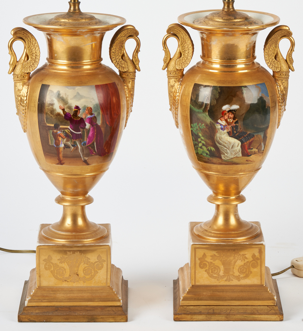 Lot 459: 2 French Urn Lamps plus 2 Derby Urns