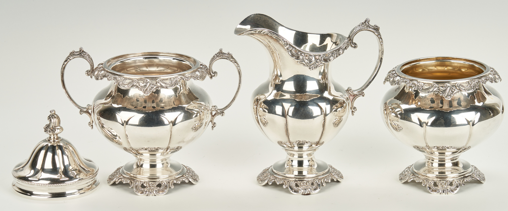 Lot 45: Wallace Grand Baroque Sterling Tea Set plus Urn, Tray