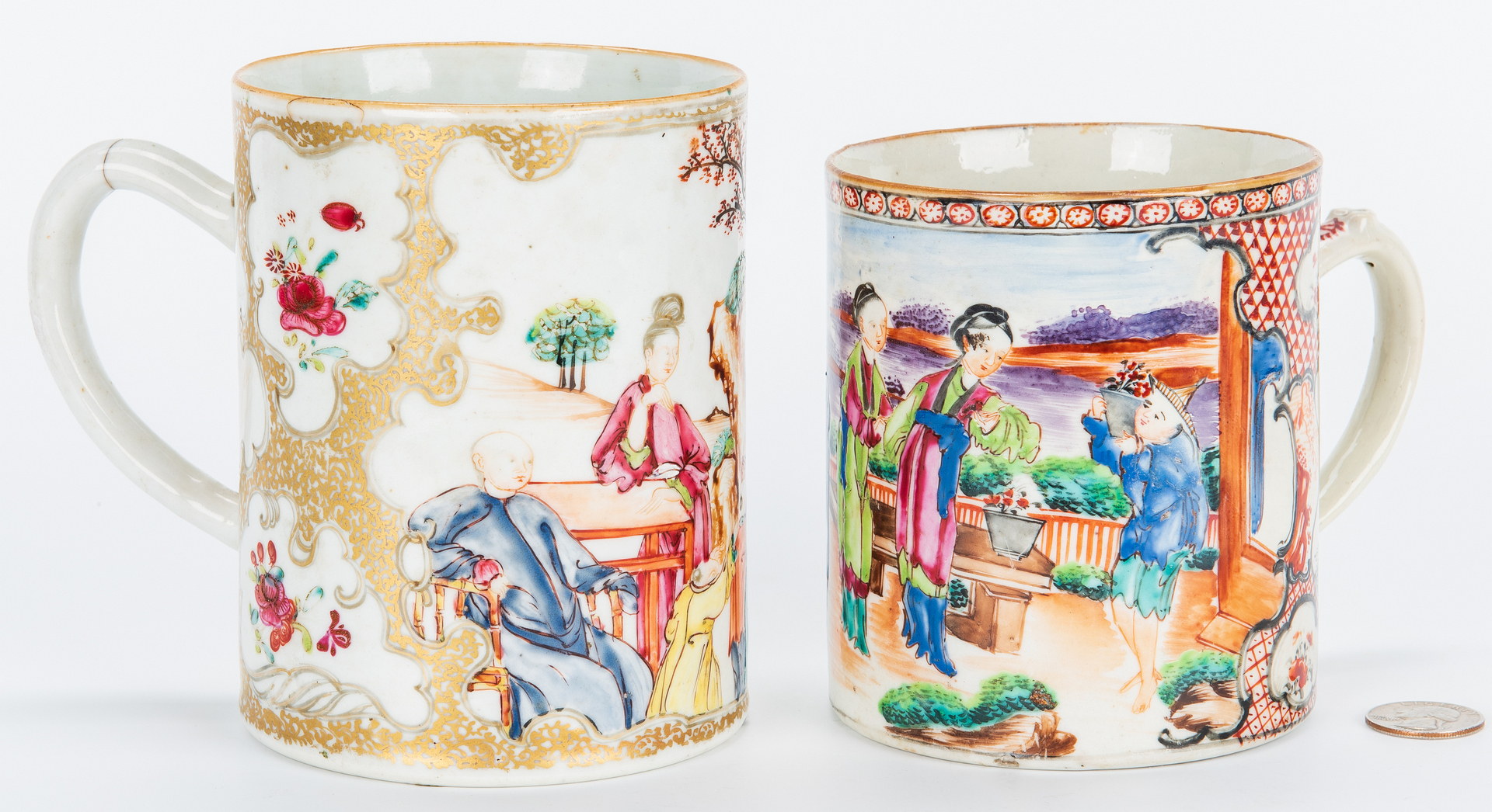 Lot 460: Pr. Chinoserie Porcelain Figures & Export Mugs