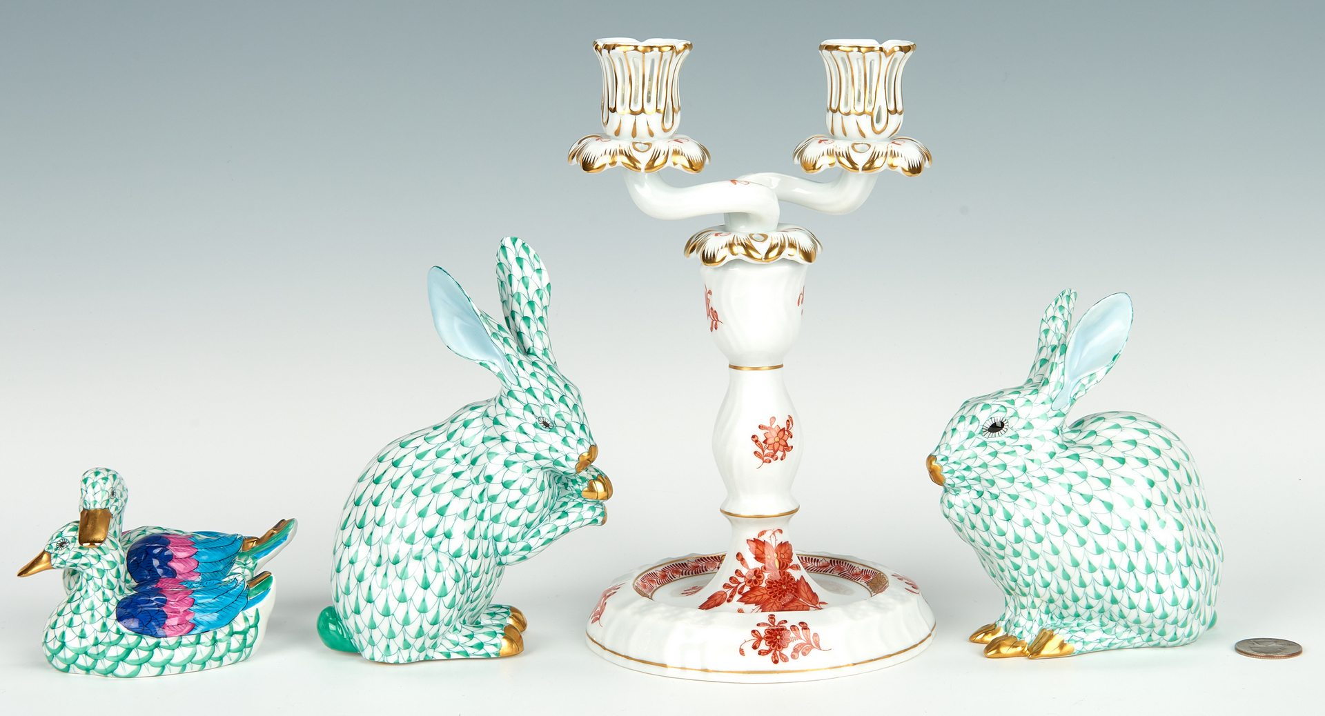 Lot 461: 3 Herend Animals plus Candleabra