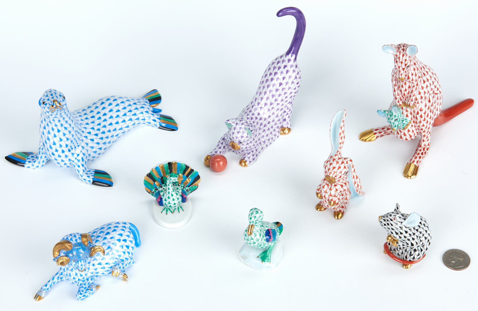 Lot 462: Group of 8 Herend Animals incl. Seal