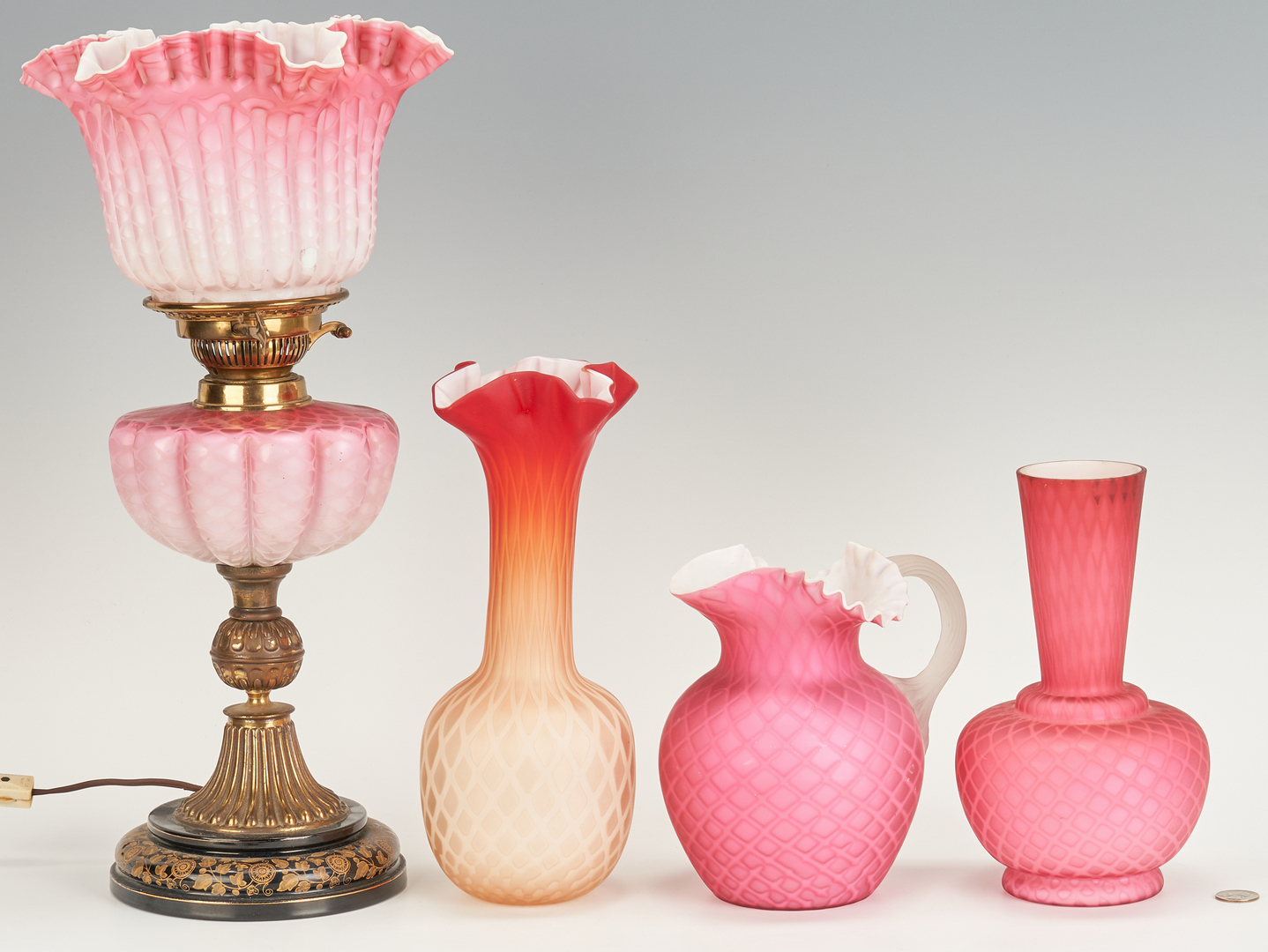 Lot 464: 5 Art Glass/Satin Glass Items, incl. Epergne, Lamp, Pitcher, Vases