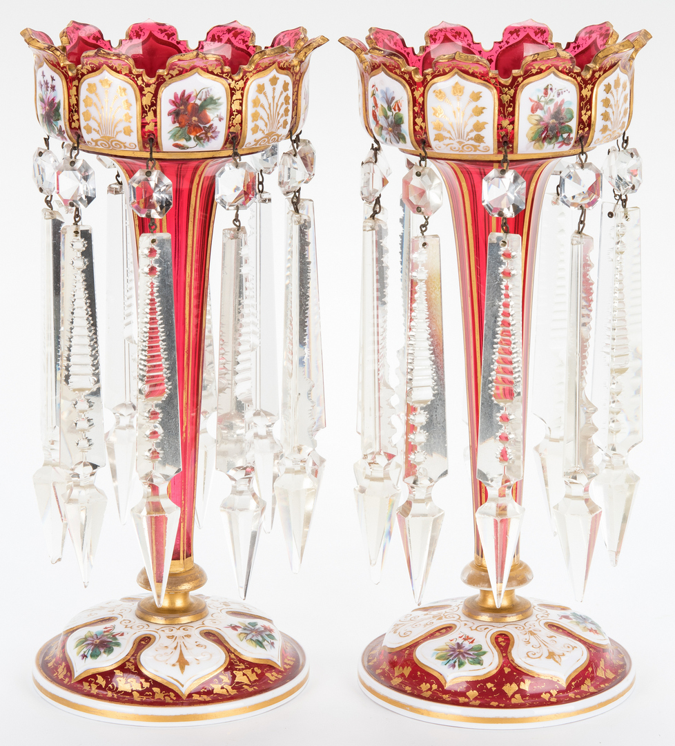 Lot 470: Pair of Bohemian Enamel and Gilt Decorated Lustres