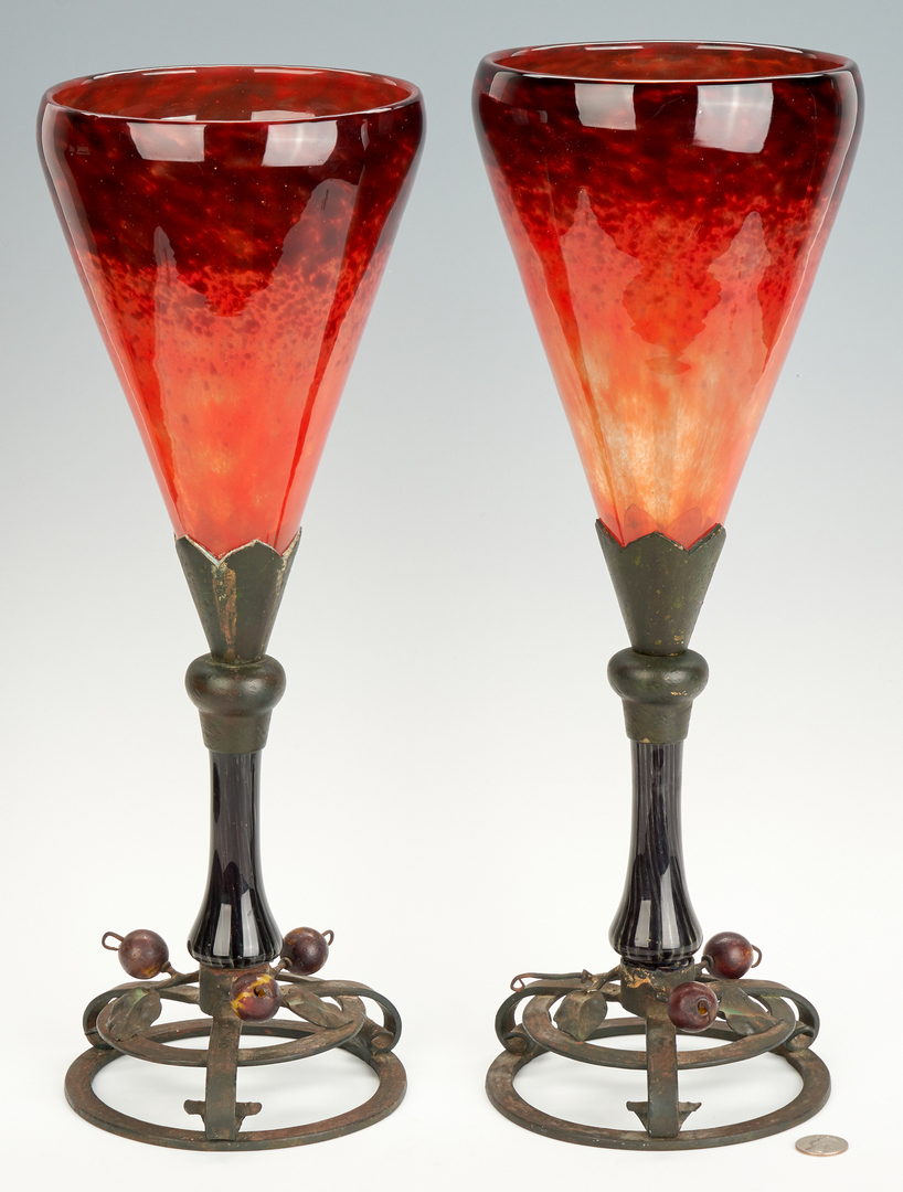 Lot 474: Pair Schneider Art Glass Vases with Bronze Bases