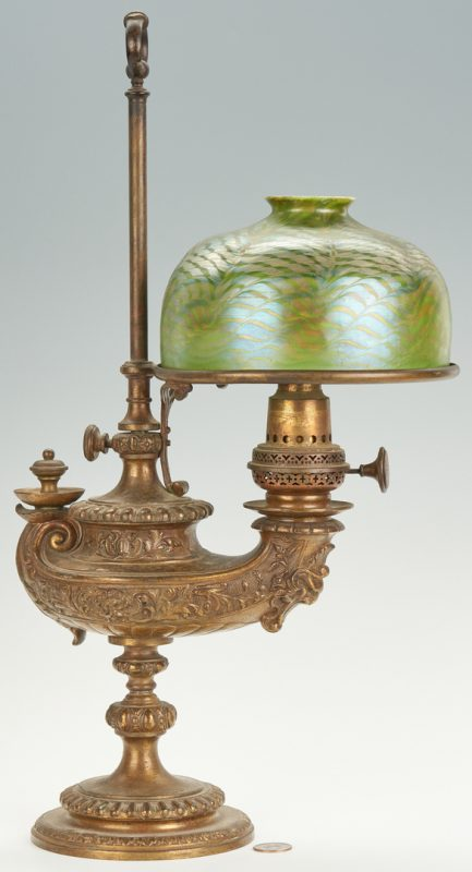 "Lot 475: Tiffany ""Aladdin Lamp"", Pulled Feather Shade"