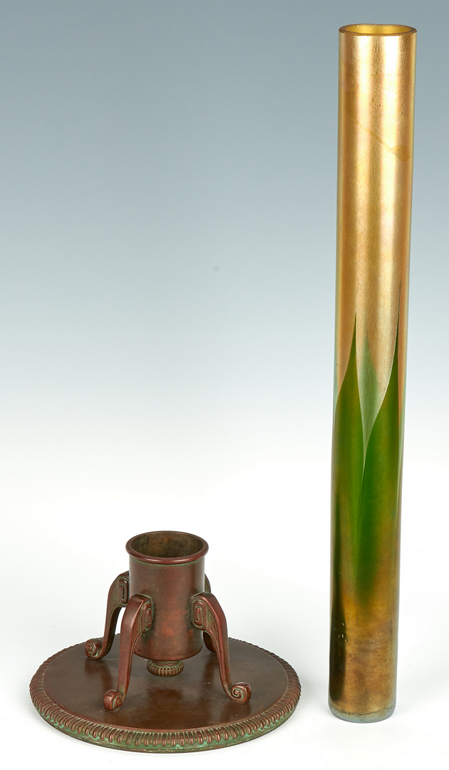 Lot 476: Tiffany Bronze and Glass Vase #715