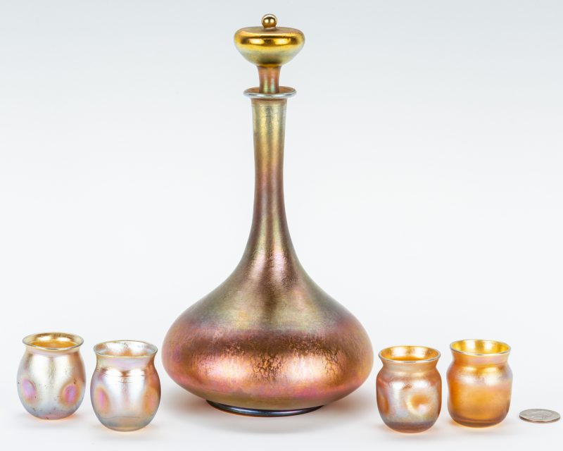Lot 477: Tiffany Favrile Art Glass Cordial Set, 5 pcs.