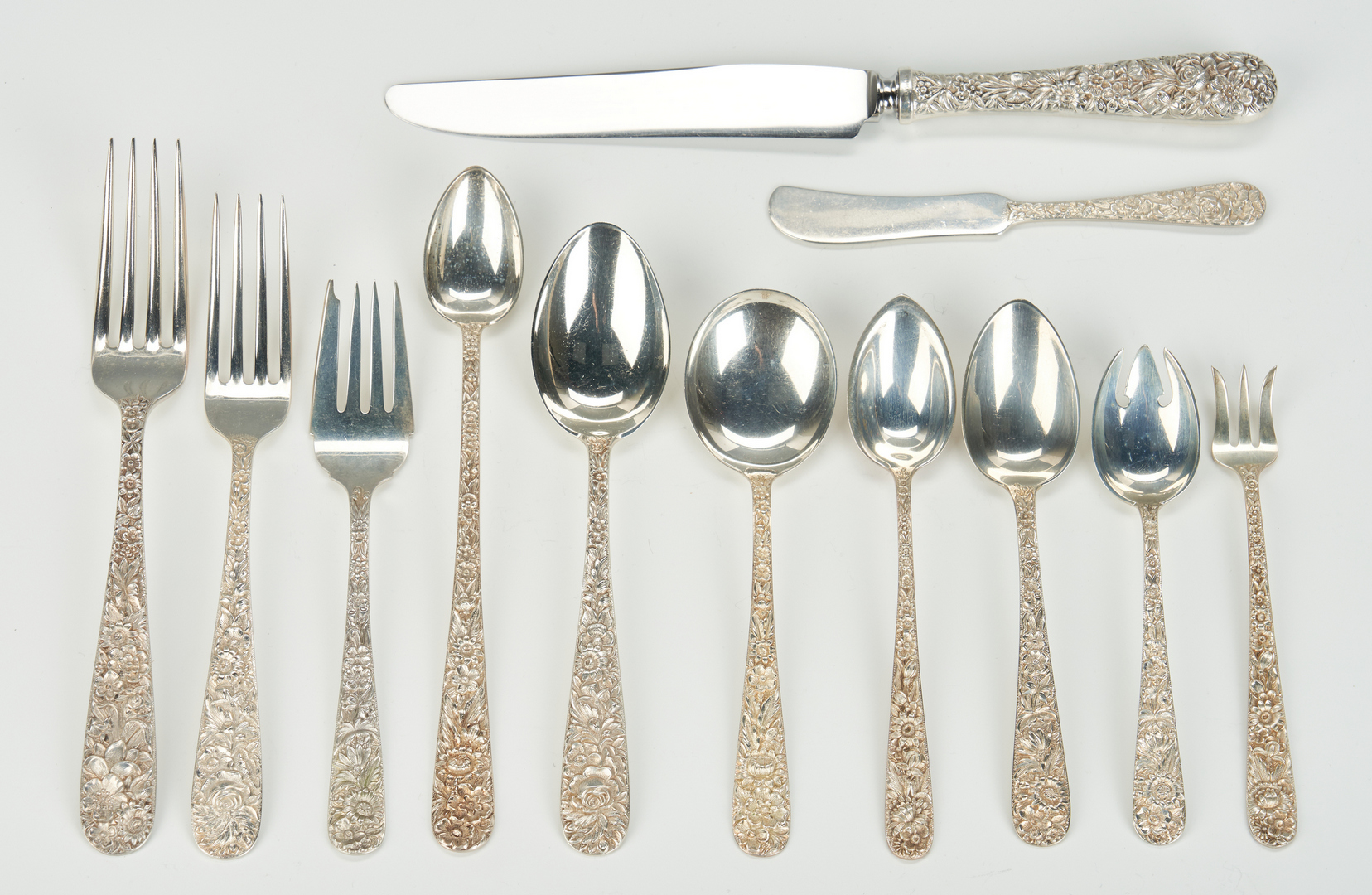 Lot 47: Kirk Repousse Flatware, Service for 12 with Extras