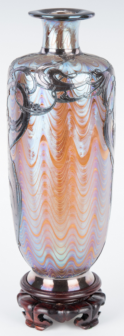 Lot 480: Art Glass Vase with Sterling Overlay