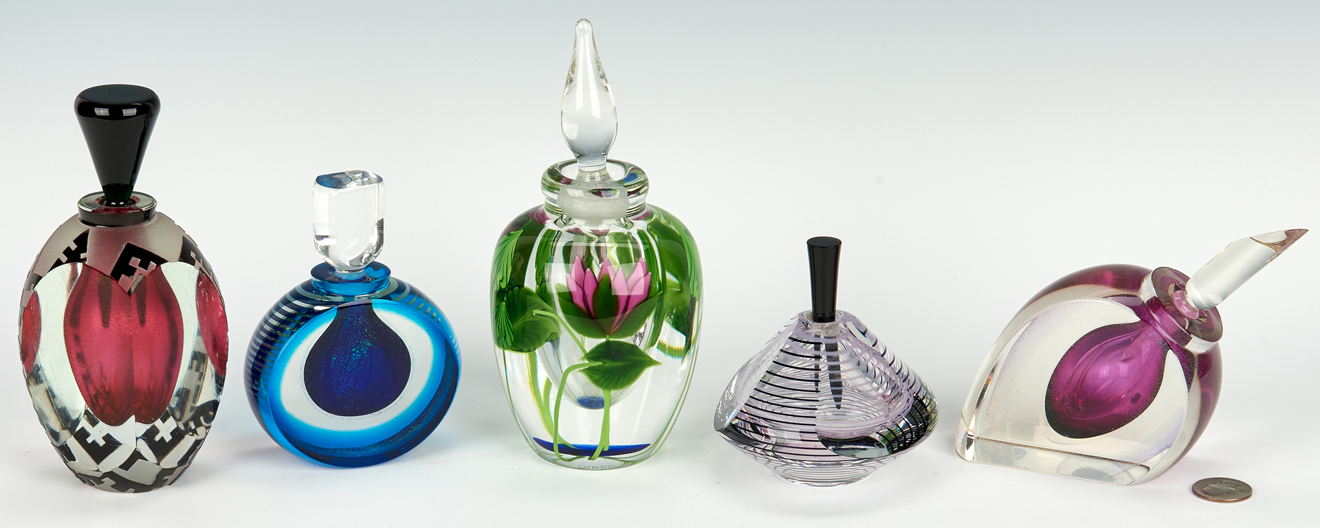 Lot 484: 5 Art Glass Perfume Bottles