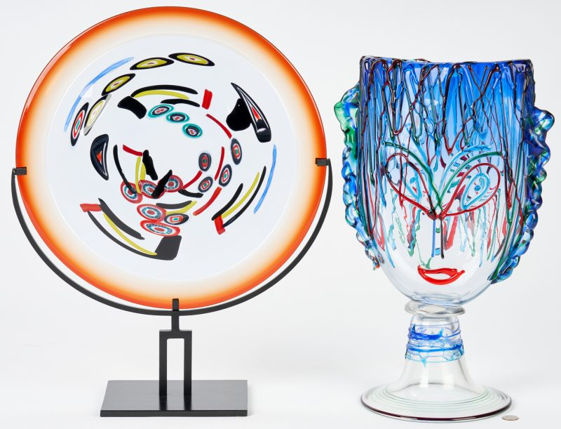 Lot 493: Murano Picasso Glass Sculpture + Art Glass Orb