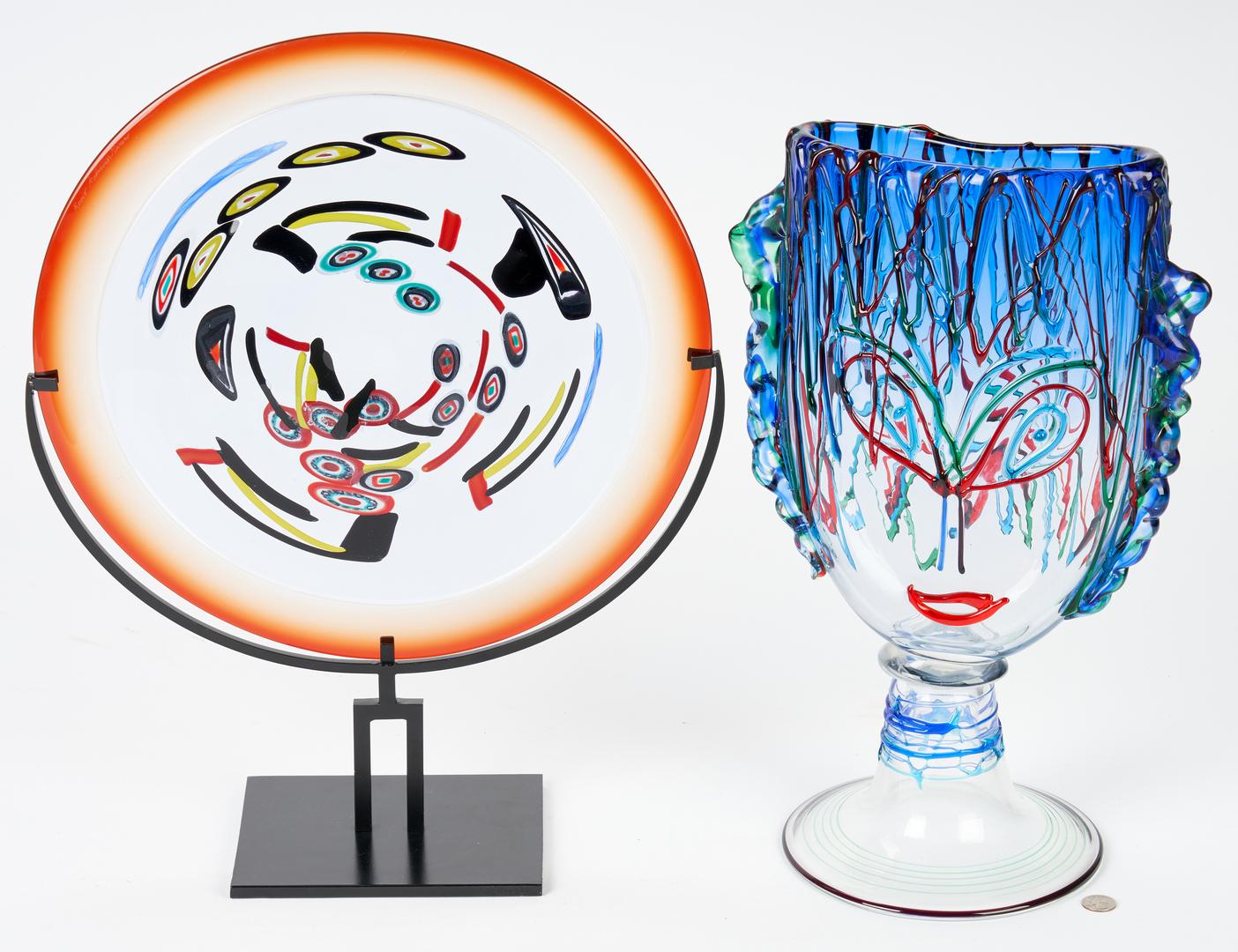Lot 493: Murano Picasso Glass Sculpture + Art Glass Orb