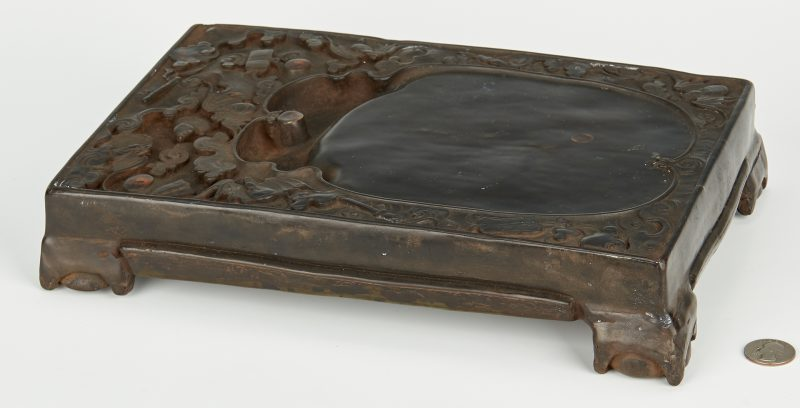 Lot 4: Chinese Duan Inkstone with Bats