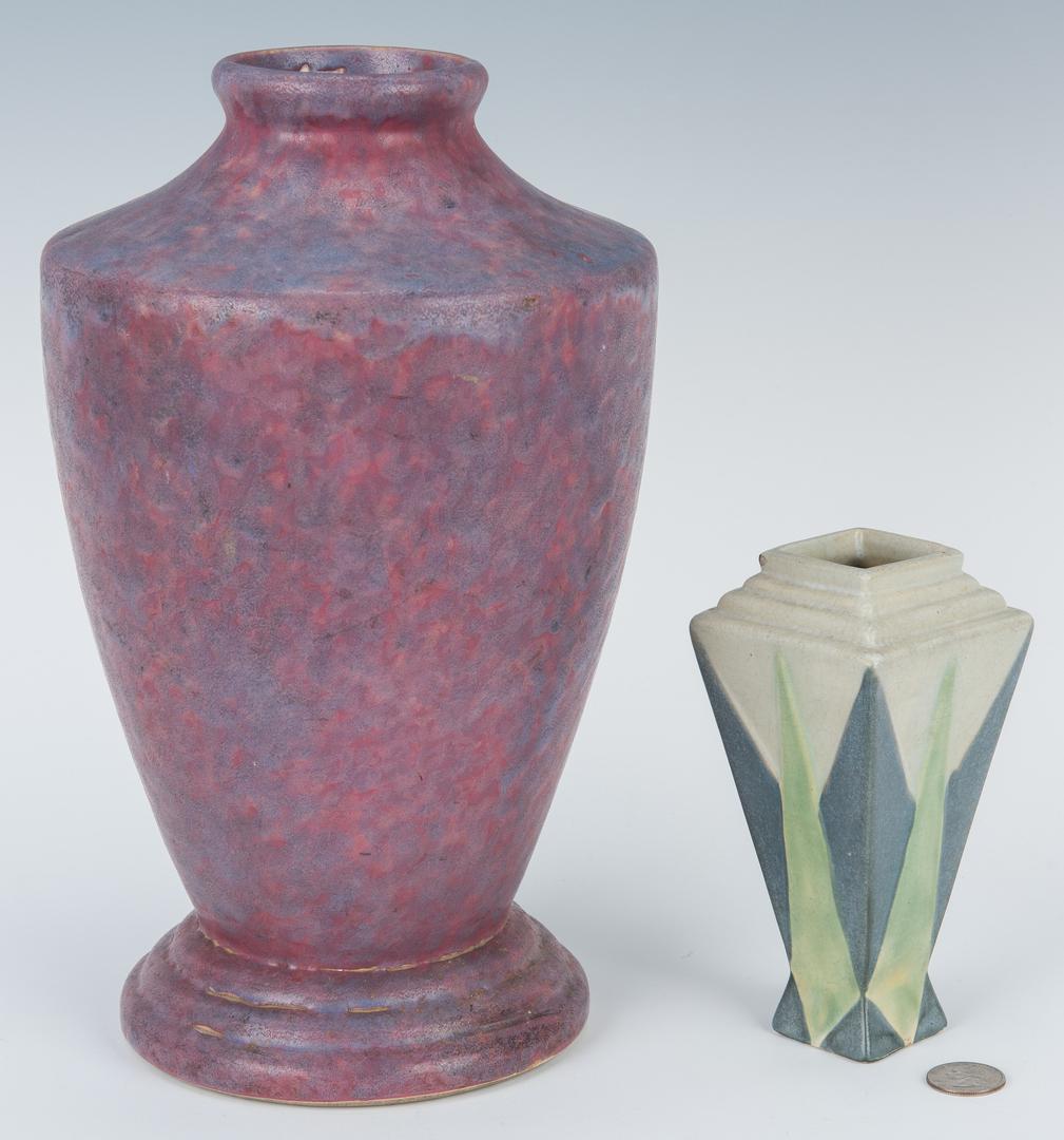 Lot 502: Weller Vase, Norse Mug, Burley-Winter, Roseville Vases
