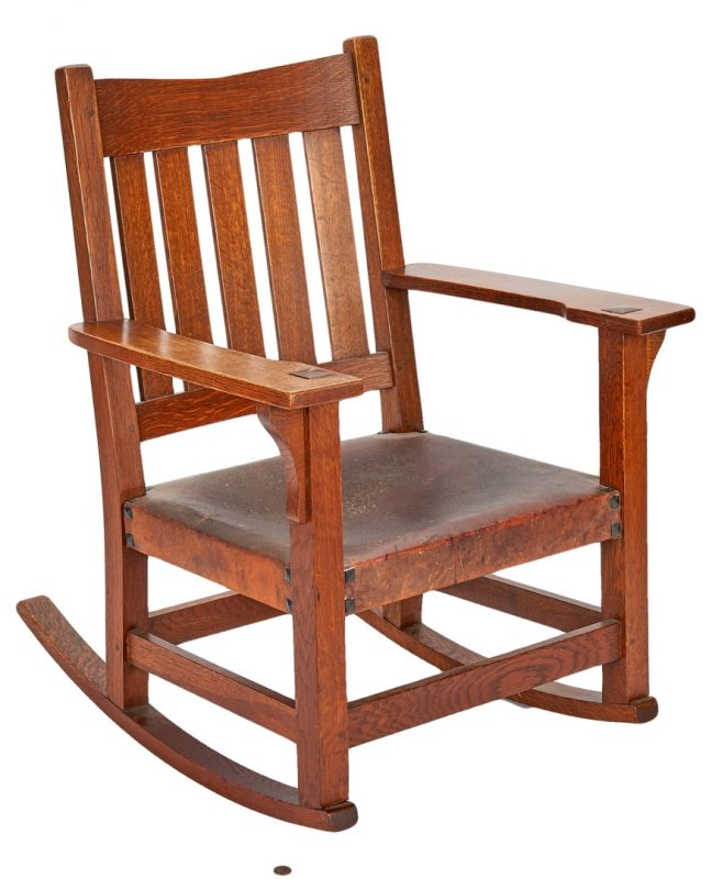 Lot 507: Gustav Stickley Arts & Crafts Oak Rocking Chair